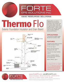 Thermo flo exterior eps foundation insulation drain board manufacturers technical specifications for Exterior foundation drainage solutions